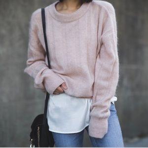 H&M light pink mohair blend sweater